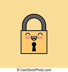 padlock kawaii icon design