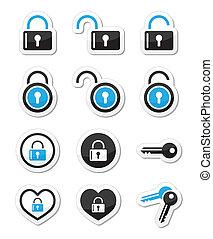 Padlock, key, account vector icons