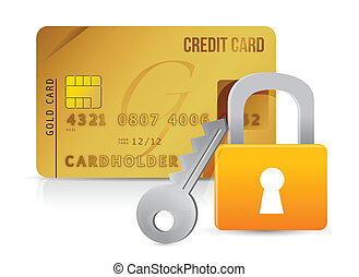 Padlock, key and credit cards illustration design over white