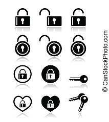 Padlock, key vector icons set - home, prison, log in, sign...