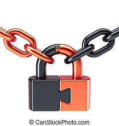 Padlock lock puzzle closed with chain security concept