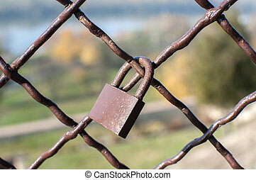 Padlock locked on metal mesh