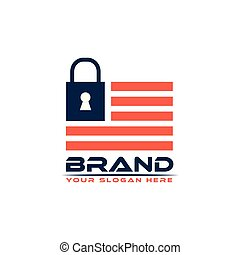 Padlock logo vector on American flag. Flat logo design. Abstract House.