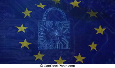 Animation of a padlock made of microprocessor connections over EU map. Finance and technology concept digital composite