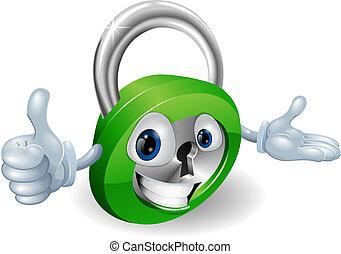 Padlock mascot illustration