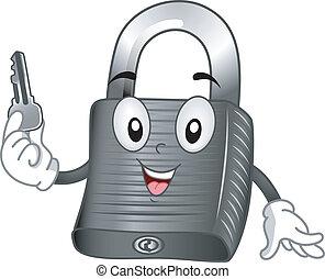 Mascot Illustration Featuring a Padlock