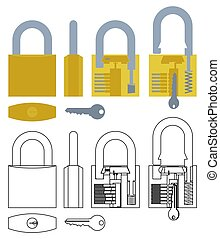 Padlock mechanism working colored and outline only.