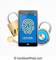 padlock., mobile, serrure, écran, réaliste, vecteur, sécurité, ou, 3d