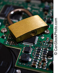 Padlock on a hard disk drive