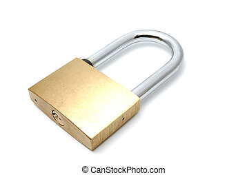 Padlock on a white background - Padlock with the long handle...