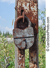 Padlock on an broken gate - Rusty padlock on an old broken...