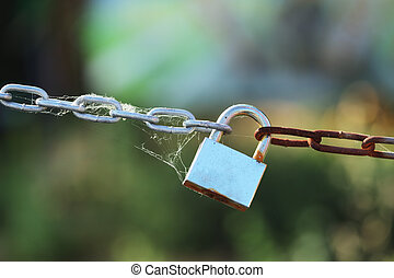 Padlock on chain