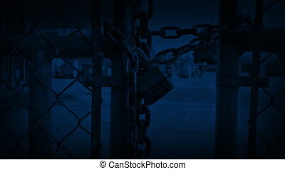 Padlock On Gates At Night - Moving around padlock on gates...