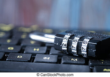 Padlock on keyboard . Internet data privacy information security concept