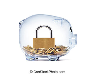 Padlock on money inside transparent piggy bank with clipping path