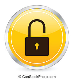 padlock open yellow circle icon