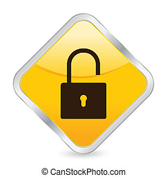 padlock open yellow square icon