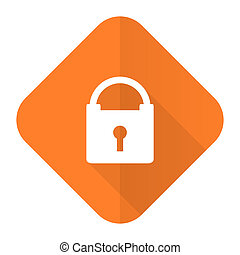 padlock orange flat icon secure sign