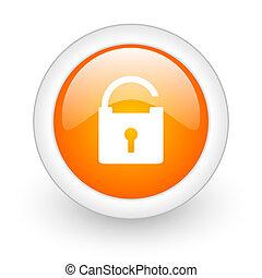 padlock orange glossy web icon on white background