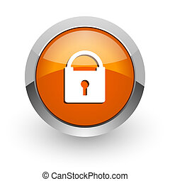 padlock orange glossy web icon