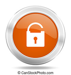 padlock orange icon, metallic design internet button, web and mobile app illustration
