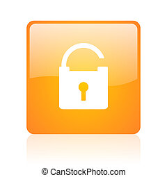 padlock orange square glossy web icon