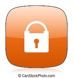 padlock orange square web design glossy icon