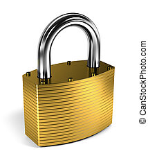 Padlock over white background - Close up on locked padlock...