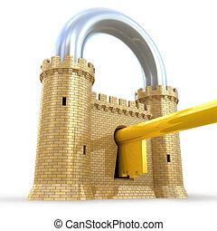 padlock, poderoso, fortaleza