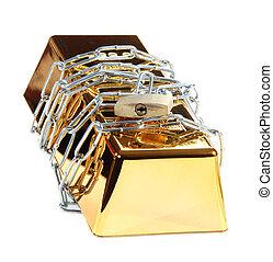 padlock, protegido, barzinhos, corrente, ouro