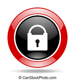 padlock red and black web glossy round icon