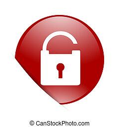 padlock red circle glossy web icon
