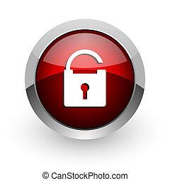 padlock red circle web glossy icon