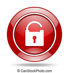 padlock red web glossy round icon