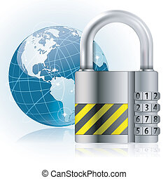 Padlock Safety - Business concept - Padlock protects Earth,...