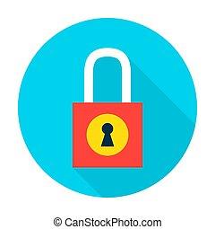 Padlock Secure Flat Circle Icon