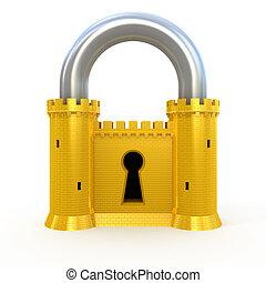 padlock, segurança, branca, isolado