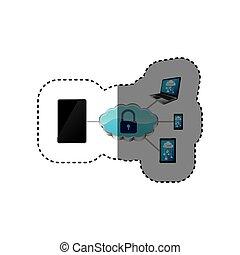 padlock, segurança, smartphone, nuvem