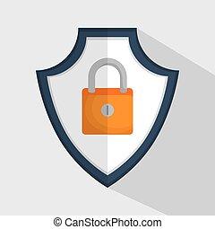 padlock, seguro, dados, escudo, ícone