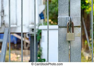 padlock., serrure, métal, protection, porte fermée, sécurité