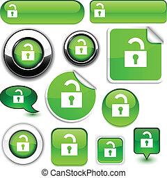 Padlock signs. - Padlock vector glossy icons.