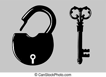 padlock silhouette on gray background, vector illustration
