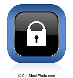 padlock square glossy icon secure sign