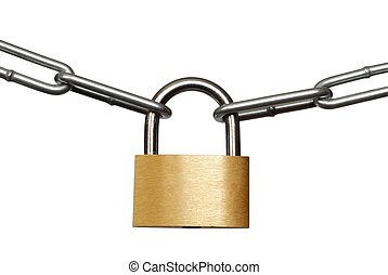 Padlock and chain macro isolated on white