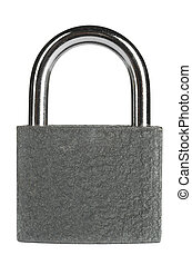 padlock - gray metallic padlock, cut out from white