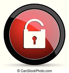 Padlock vector icon. Modern design red and black glossy web and mobile applications button in eps 10