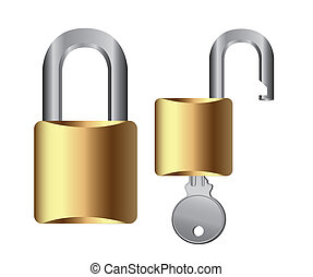 padlock vector - padlock with key isolated over white...