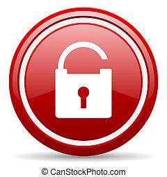 padlock, vermelho, lustroso, ícone, branco, fundo