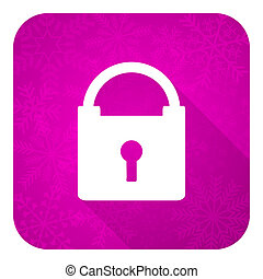 padlock violet flat icon, christmas button, secure sign