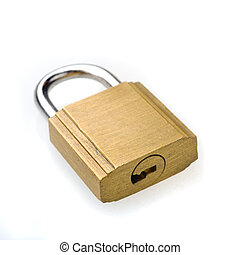 Padlock, white background. - Closed padlock, white...